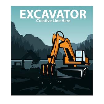 Excavatrice sur les collines