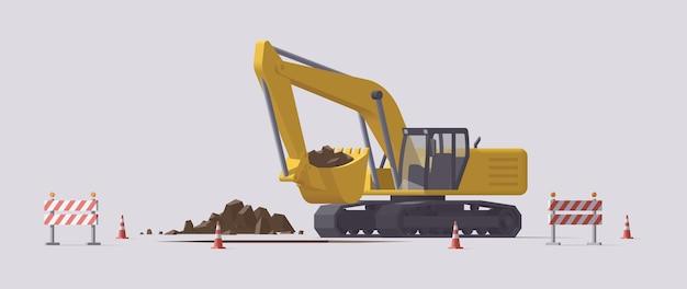 Excavatrice de creusement. illustration isolée