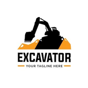 Excavatrice et rétrocaveuse logo illustration vectorielle
