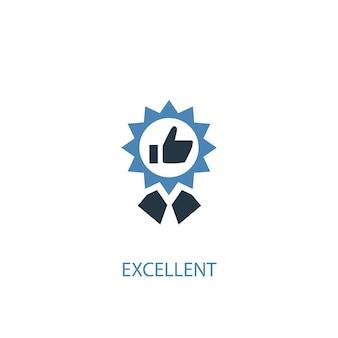 Excellent concept 2 icône de couleur. illustration de l'élément bleu simple. excellente conception de symbole de concept. peut être utilisé pour l'interface utilisateur/ux web et mobile
