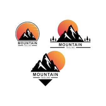 Excellent logo de montagne avec coucher de soleil