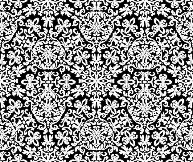 Excellent ornement oriental seamless pattern texture décorative noire et blanche motifs mehndi