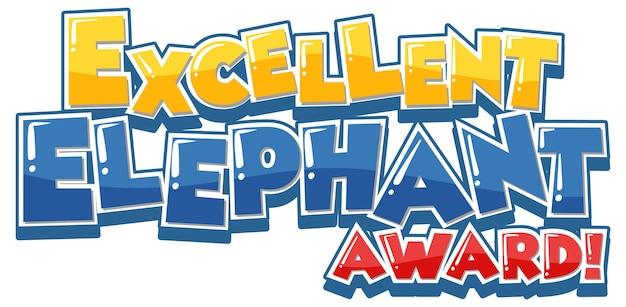 Excellente bannière de polices elephant award
