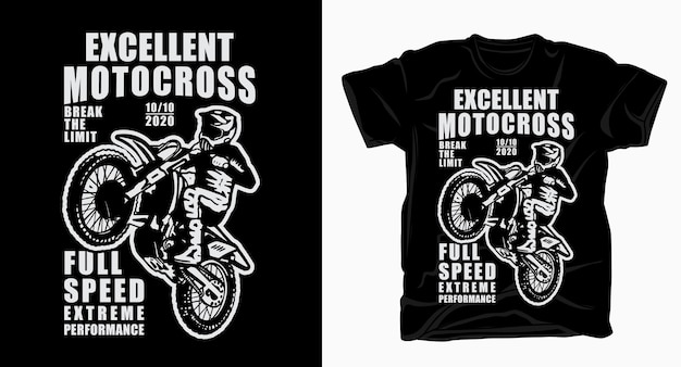 Excellente typographie de motocross avec t-shirt de pilote