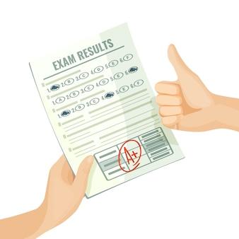 Excellents résultats d'examen sur papier entre des mains humaines. meilleure note pour l'estimation des connaissances. évaluation à l'école ou à l'université caricature isolée.