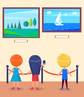 Excursion à la galerie d'art pour les écoliers