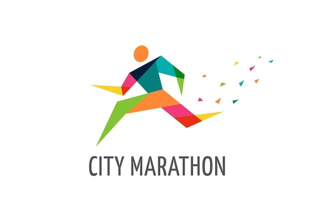 Exécutez l'affiche et le logo de marathon de symbole d'icône