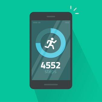 Exécutez ou appli de suivi des étapes de remise en forme sur téléphone mobile dessin animé plat isolé