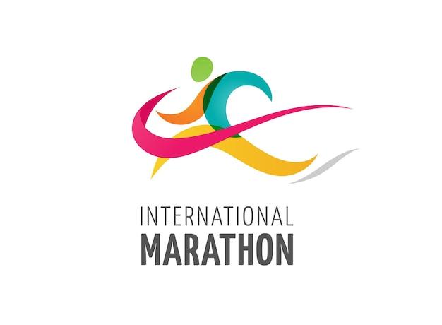 Exécutez le logo de marathon de symbole d'icône