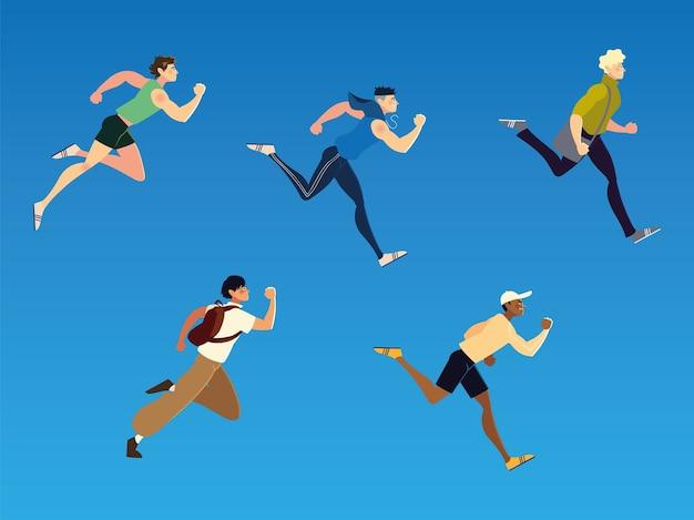 Exécution de personnes effectuant des sports et autres activités illustration