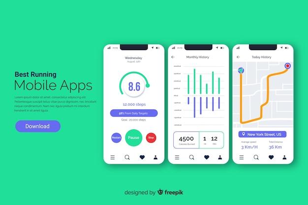 Exécution de style plat infographie application mobile