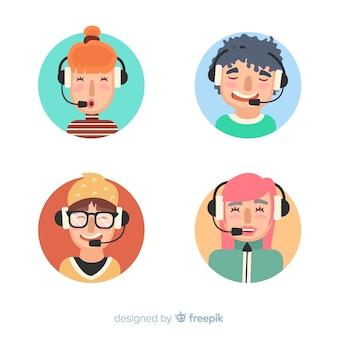 Exemple d'avatar du centre d'appel plat