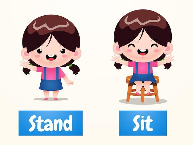 Exemple de dessin animé de fille mignonne de mot opposé antonim debout et assis