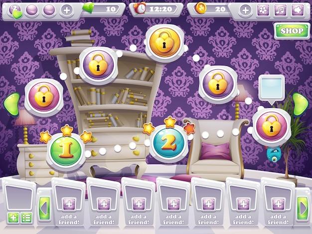 L'exemple de l'écran de jeu pour sélectionner le niveau du jeu monstres