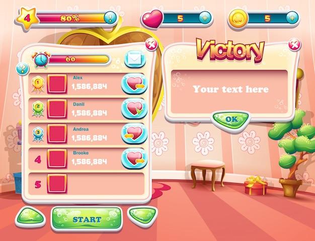 Un exemple de l'un des écrans du jeu informatique avec une princesse de chambre à coucher en arrière-plan de chargement, une interface utilisateur et divers éléments. ensemble 3
