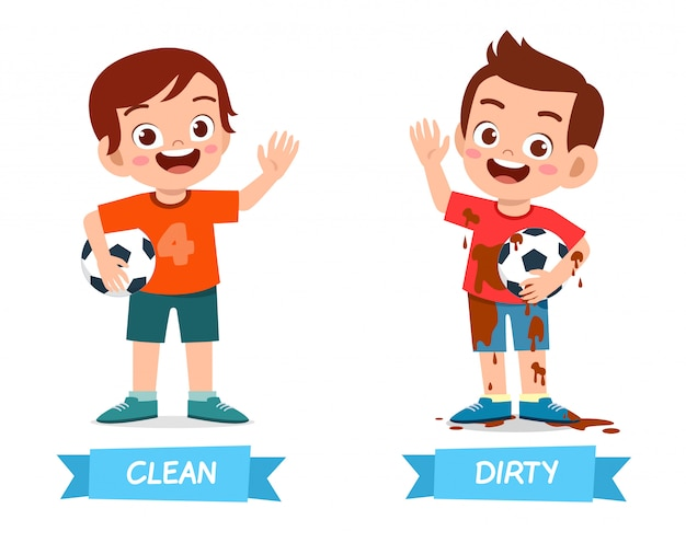 Exemple mignon de mot opposé antonim pour enfant