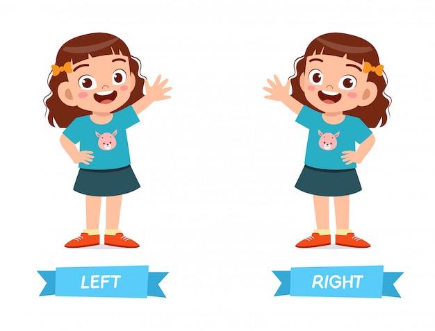 Exemple mignon de mot opposé antonyme pour enfant