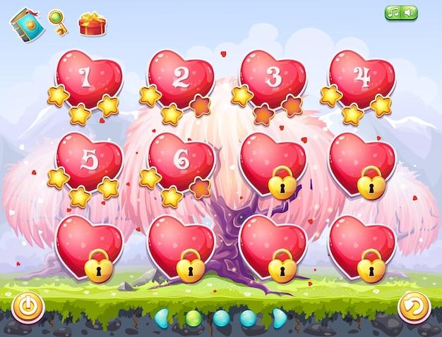 Exemple de sélection de niveaux pour les jeux informatiques sur le thème saint valentin. coeurs roses