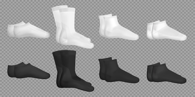 Exemples de modèles en noir et blanc de différents types de chaussettes décontractées ensemble réaliste sur transparent isolé