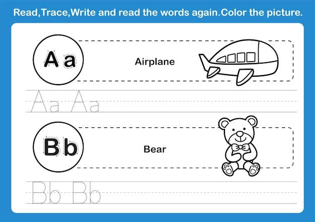Exercice d'alphabet ab avec vocabulaire de dessin animé pour cahier de coloriage