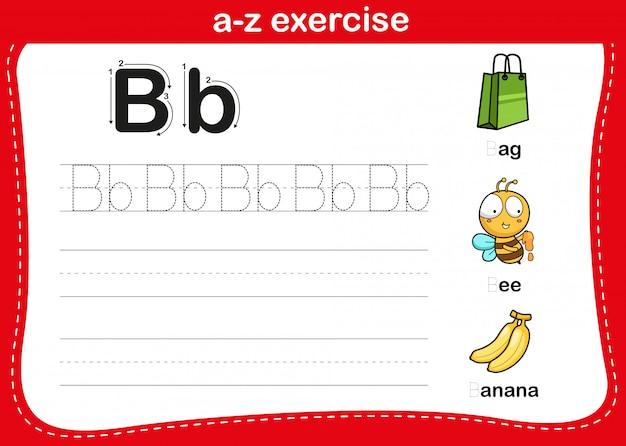 Exercice alphabet az avec illustration de vocabulaire de dessin animé, vecteur