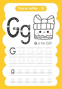 Exercice alphabet g trace letter avec illustration de vocabulaire de dessin animé