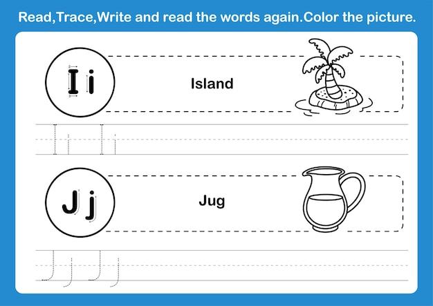 Exercice de l'alphabet ij avec vocabulaire de dessin animé pour l'illustration du livre de coloriage