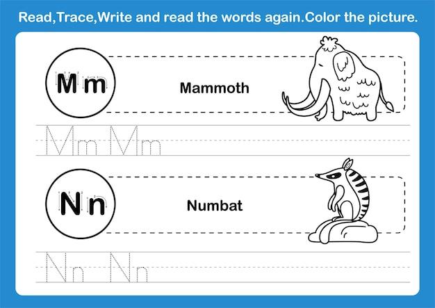 Exercice alphabet mn avec vocabulaire de dessin animé pour illustration de livre de coloriage