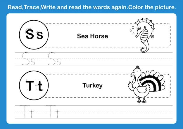 Exercice de l'alphabet st avec vocabulaire de dessin animé pour l'illustration du livre de coloriage