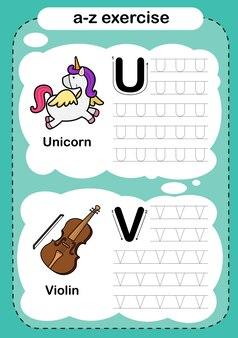 Exercice d'alphabet avec vocabulaire de dessin animé