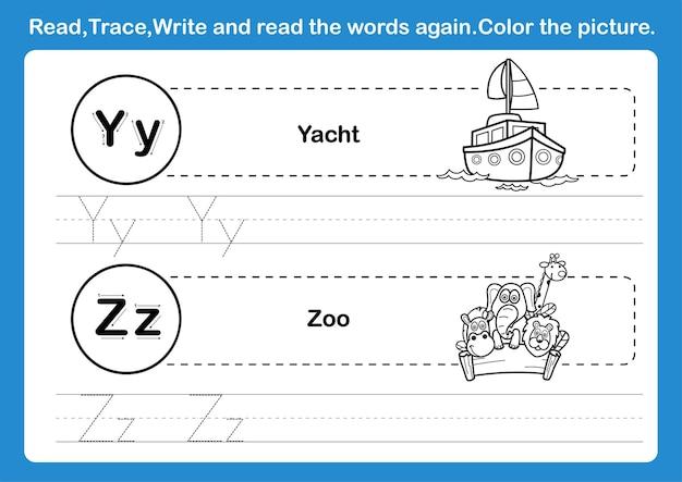Exercice de l'alphabet yz avec vocabulaire de dessin animé pour l'illustration du livre de coloriage