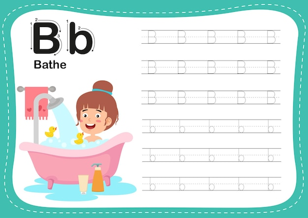 Exercice de bain de lettre de l'alphabet avec le vocabulaire des filles