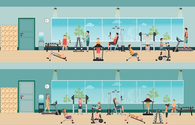 Exercice de cardio fitness et équipement avec des personnes dans l'intérieur de la salle de fitness