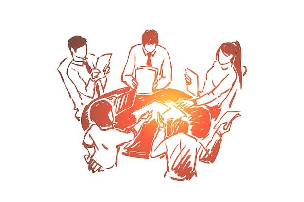 Exercice de consolidation d'équipe, illustration de remue-méninges des élèves