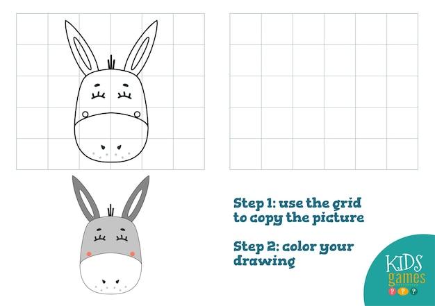 Exercice de copie et de couleur. tête de dessin animé drôle d'âne pour le jeu de dessin et de coloriage.