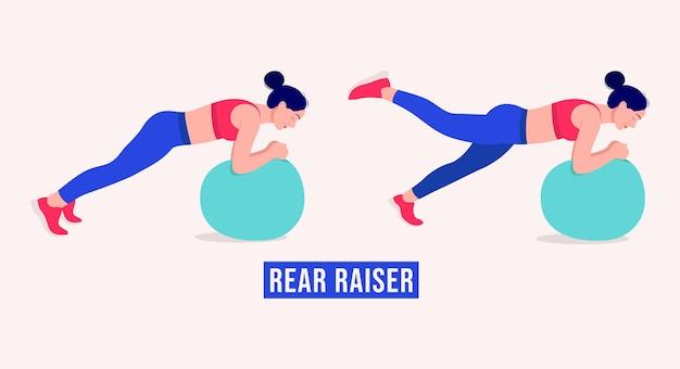 Exercice d'élévation arrière femme entraînement fitness aérobie et exercices