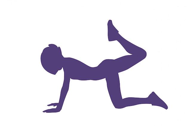 Exercice d'entraînement de silhouette de femme silhouette isolée bogy fitness et concept aérobie