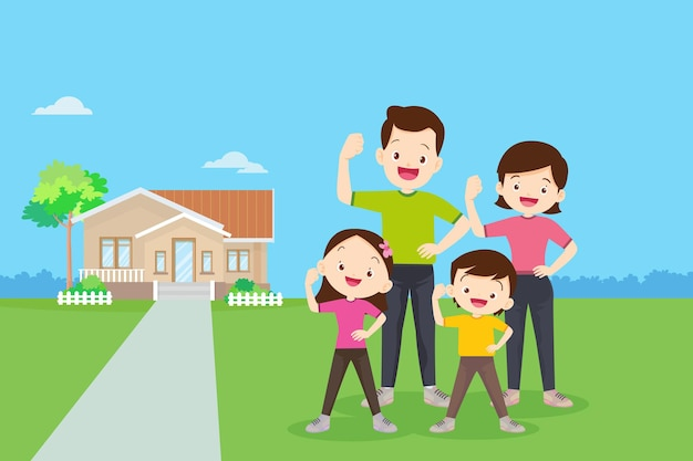 Exercice en famille avec eux fond de maison