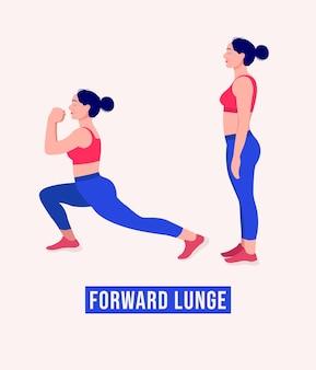 Exercice de fente avant femme entraînement fitness aérobie et exercices vector illustration