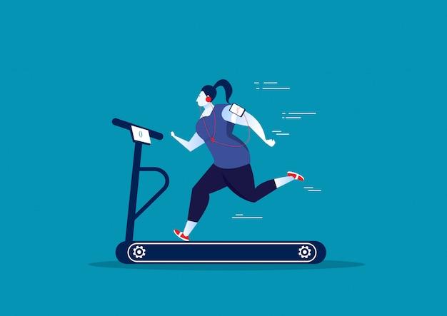 Exercice de grosse femme sur tapis roulant stationnaire de sport.