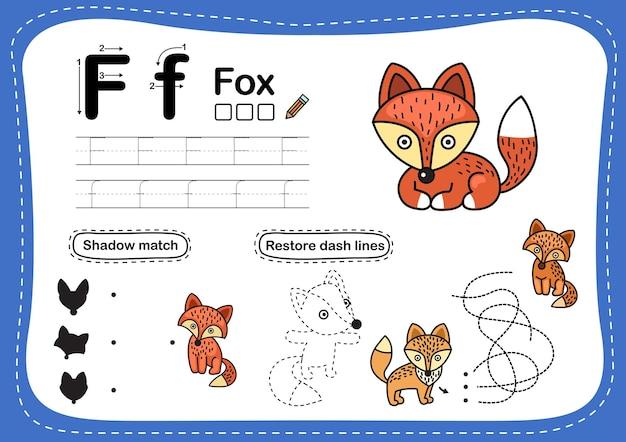 Exercice de lettre de l'alphabet f-fox avec vocabulaire de dessin animé