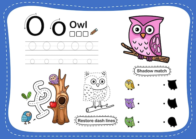 Exercice de lettre de l'alphabet o-hibou avec vocabulaire de dessin animé