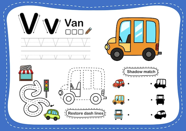 Exercice de lettre de l'alphabet v-van avec vocabulaire de dessin animé