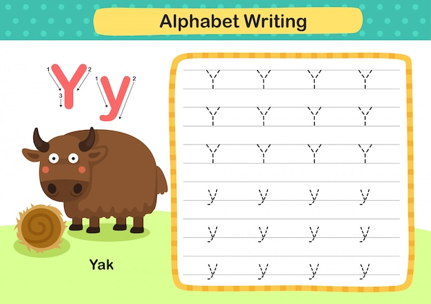 Exercice de lettre y-yak avec illustration de vocabulaire de dessin animé