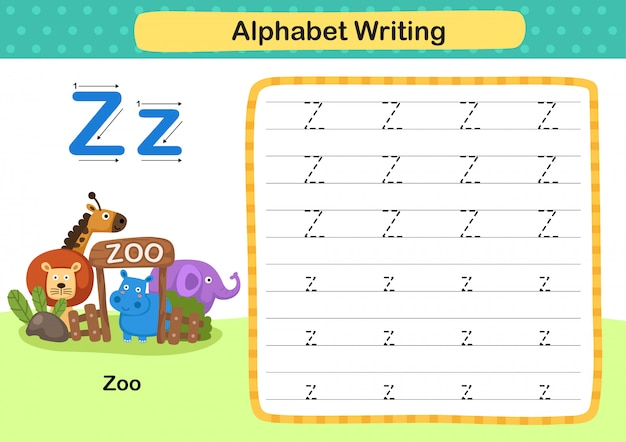 Exercice de lettre z-zoo avec illustration de vocabulaire de dessin animé