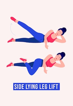 Exercice de levage de jambe couché sur le côté femme d'entraînement fitness aérobie et exercices