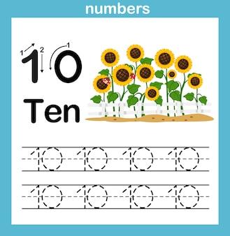 Exercice de nombre avec illustration de dessin animé