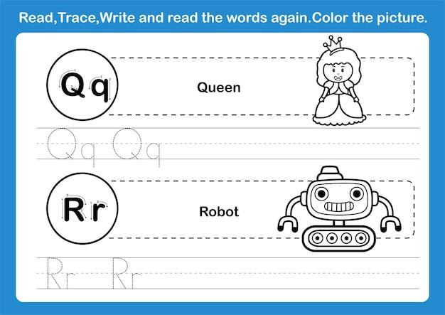 Exercice qr alphabet avec vocabulaire de dessin animé pour cahier de coloriage