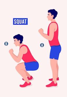 Exercice squat femme entraînement fitness aérobie et exercices