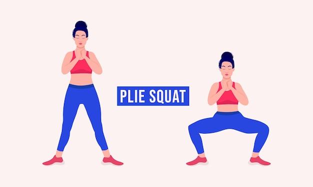 Exercice de squat plié femme entraînement fitness aérobie et exercices